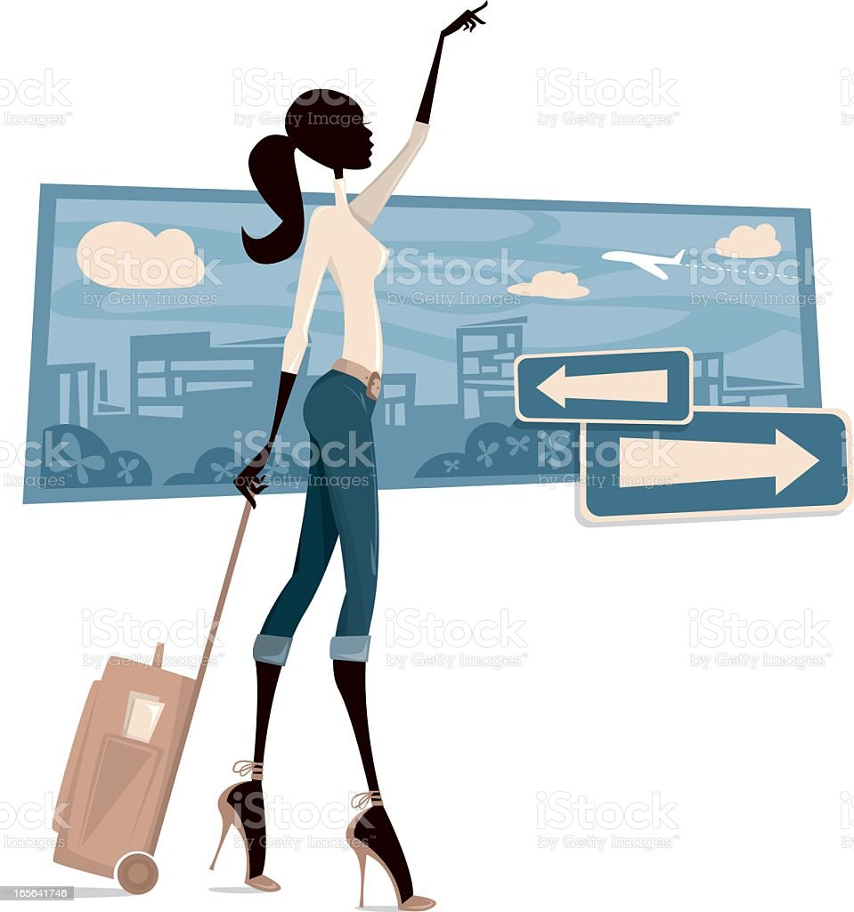 Cartoon of a woman asking for a taxi vector art illustration
