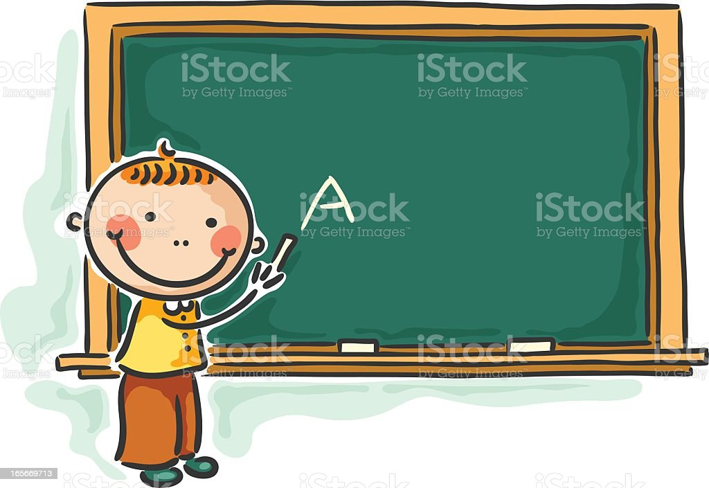 A cartoon of a young male student writing on a chalkboard  royalty-free stock vector art