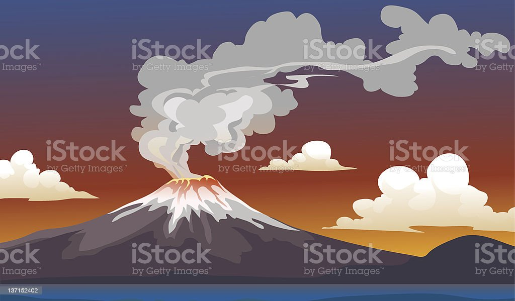 A cartoon of an erupting volcano and clouds vector art illustration