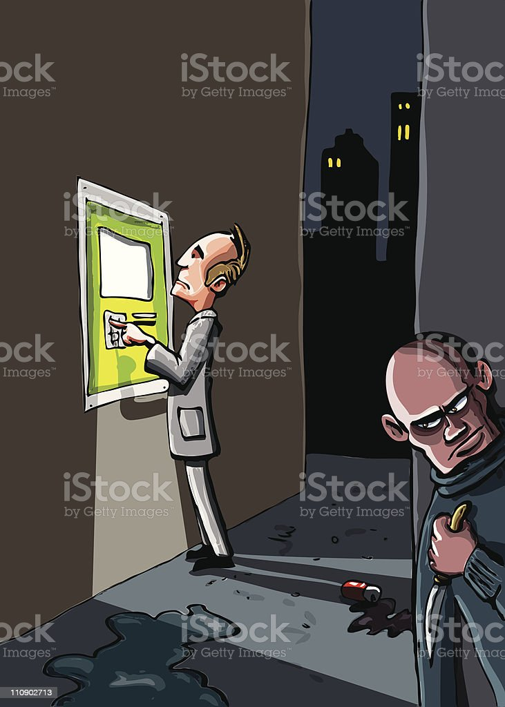 Cartoon of ATM crime royalty-free stock vector art