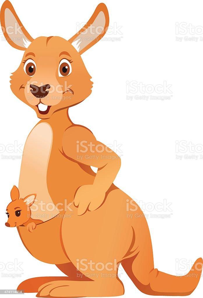 Cartoon of Australian Kangaroo Carrying Joey - Marsupial vector art illustration