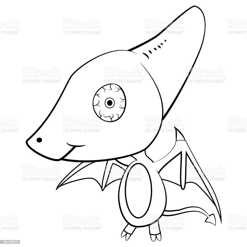 cartoon of baby pterodactyl dinosaur stock vector art 651753972