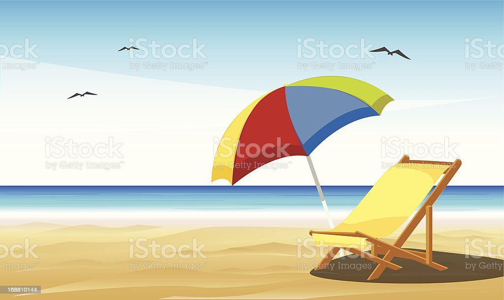 Cartoon of beach chair and umbrella on sand vector art illustration