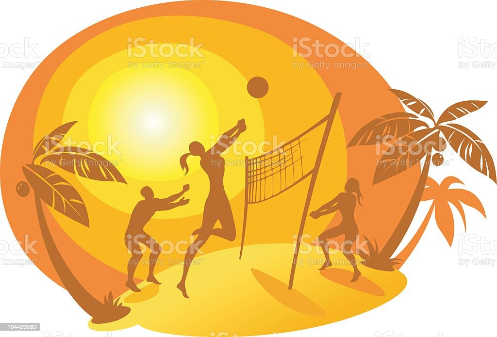 A cartoon of beach volleyball silhouettes vector art illustration