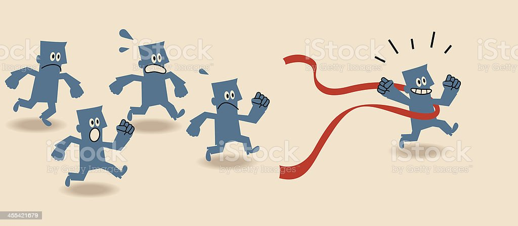 Cartoon of blue people running and winning a race royalty-free stock vector art