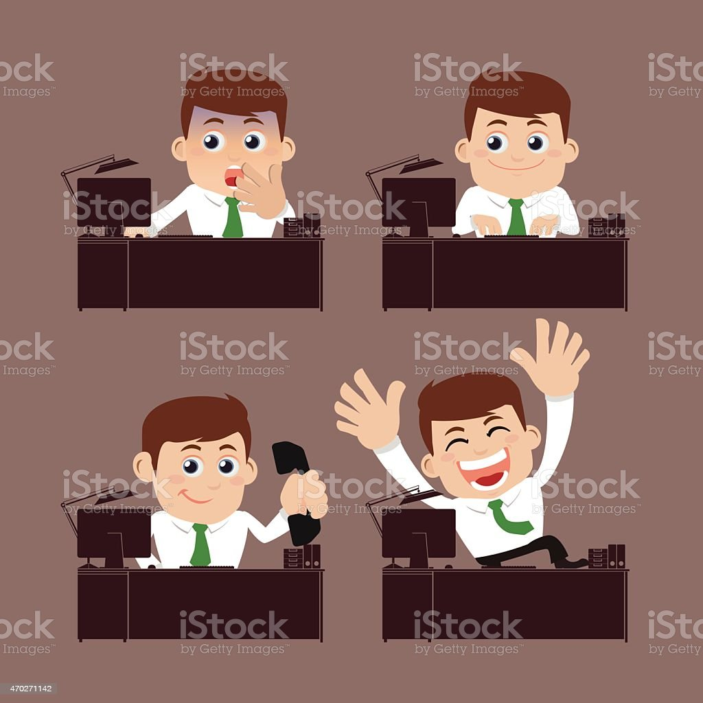 Cartoon of business man sitting on desk vector art illustration