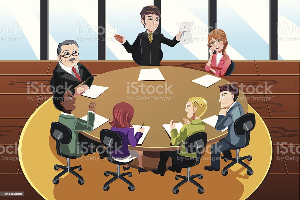 Cartoon of business people on a meeting royalty-free stock vector art