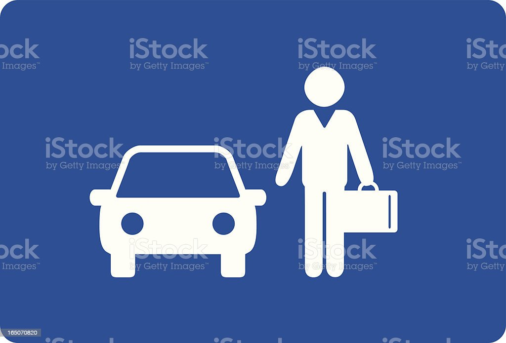 Cartoon of businessman next to a car on blue background royalty-free stock vector art