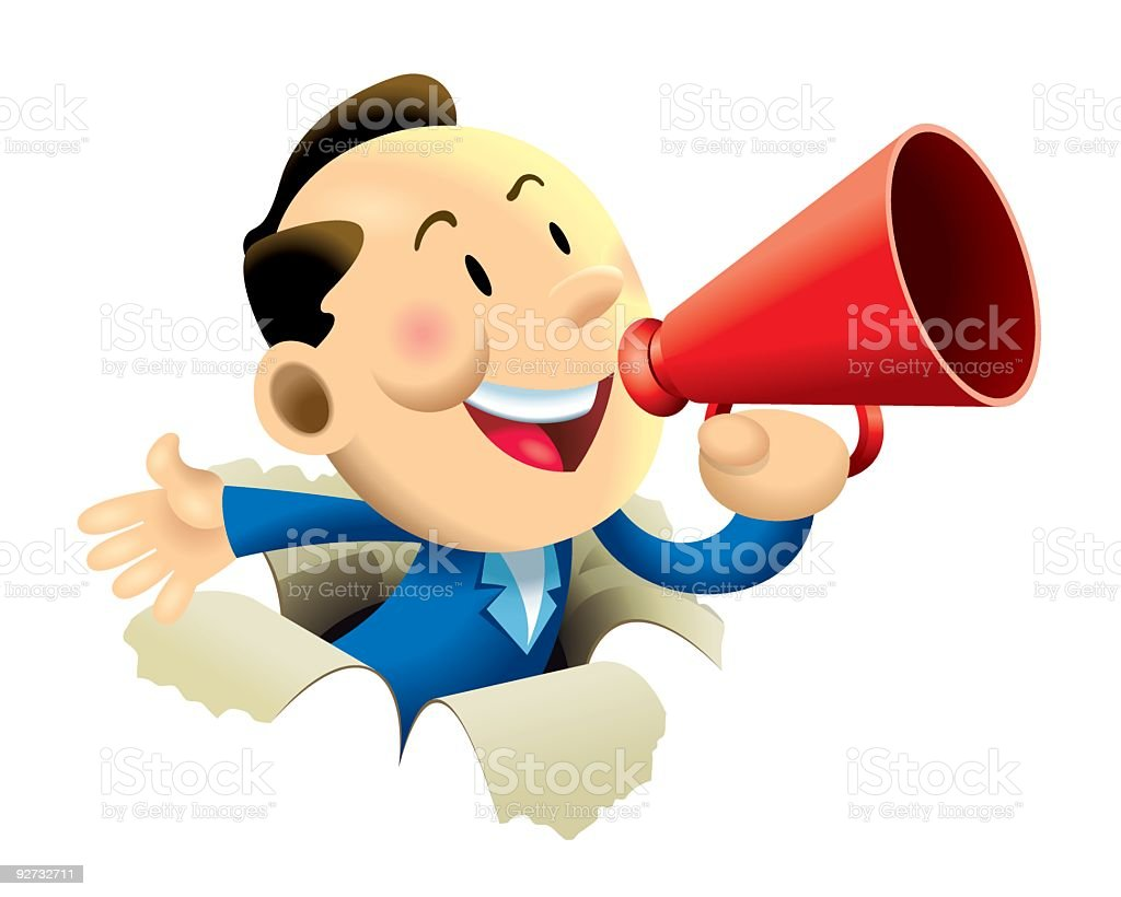 Cartoon of businessman with megaphone breaking through wall royalty-free stock vector art
