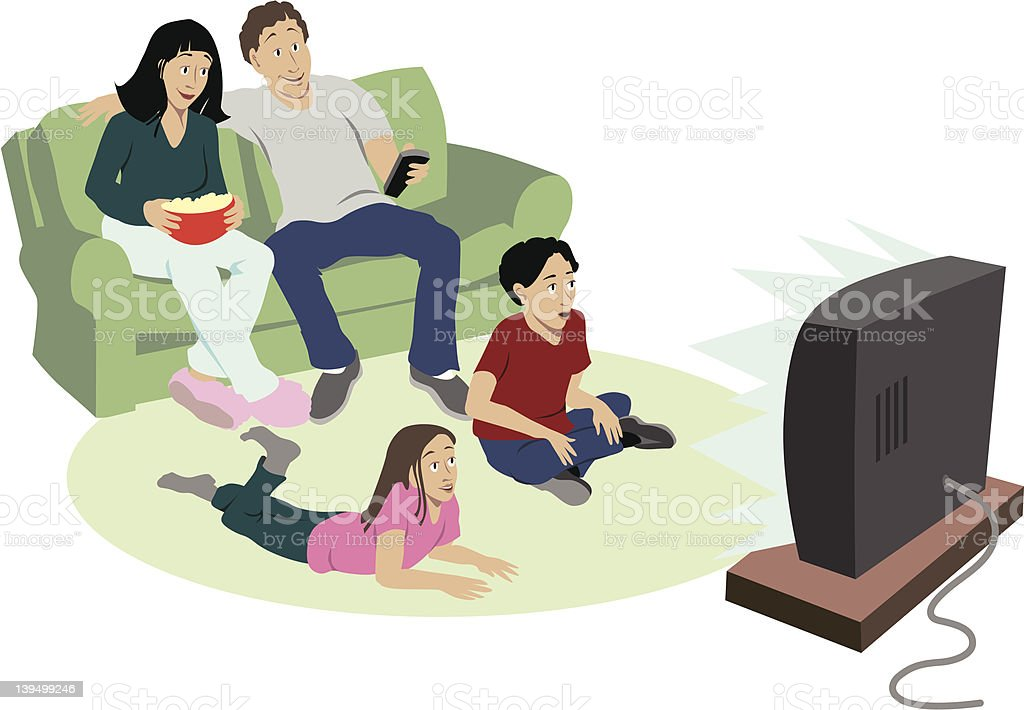 Cartoon of family of four watching television  vector art illustration