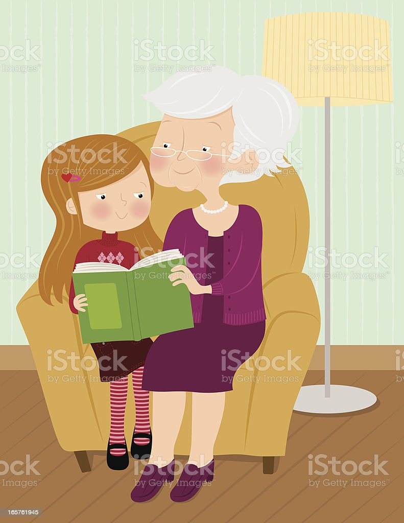 Cartoon of grandmother and granddaughter during storytime vector art illustration