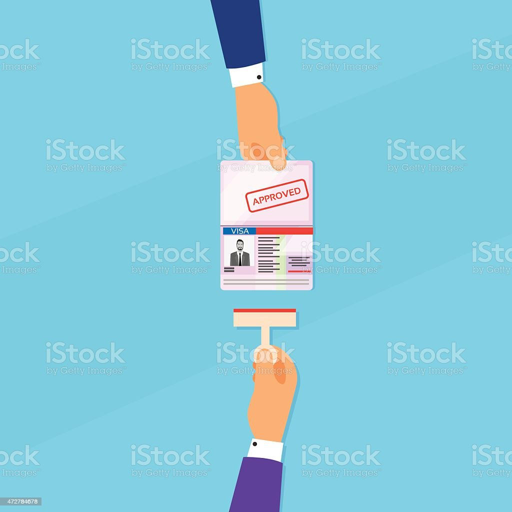 Cartoon of hand holding out passport to be stamped vector art illustration