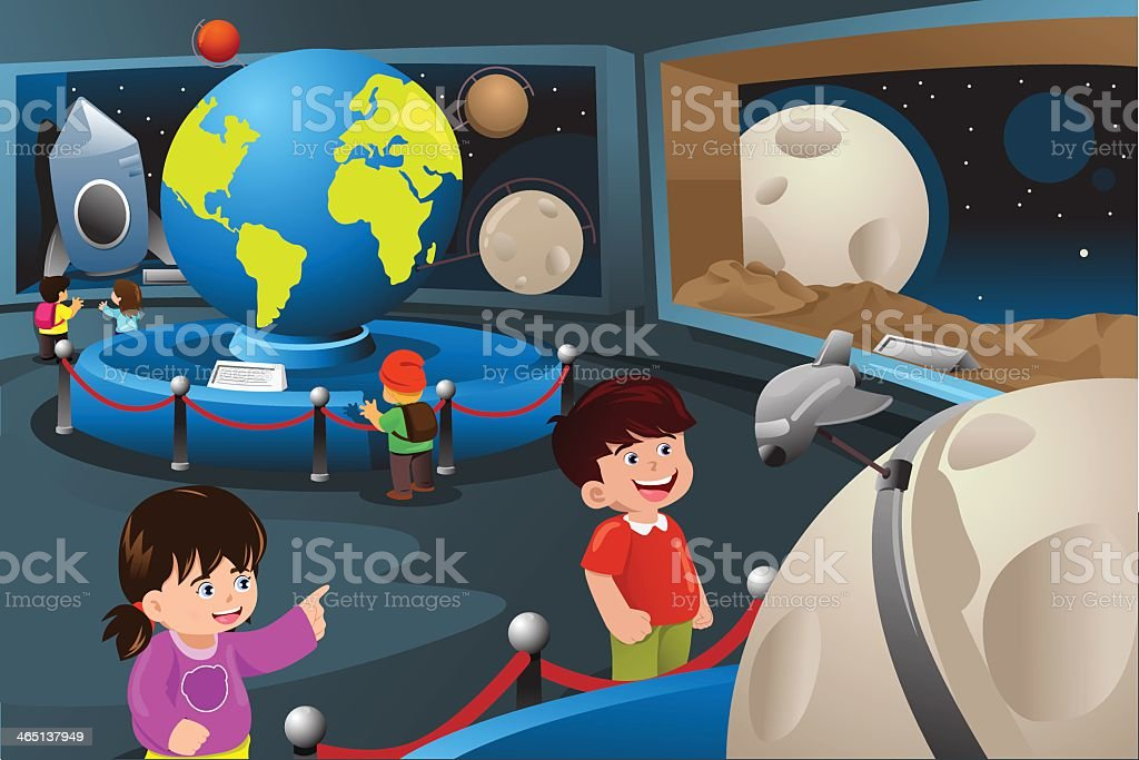 Cartoon of kids on a field trip at the planetarium vector art illustration