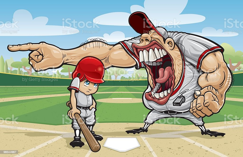 Cartoon of large angry coach yelling at little league kid royalty-free stock vector art