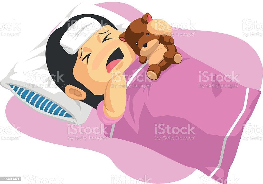 Cartoon of Little Girl Having A Fever royalty-free stock vector art