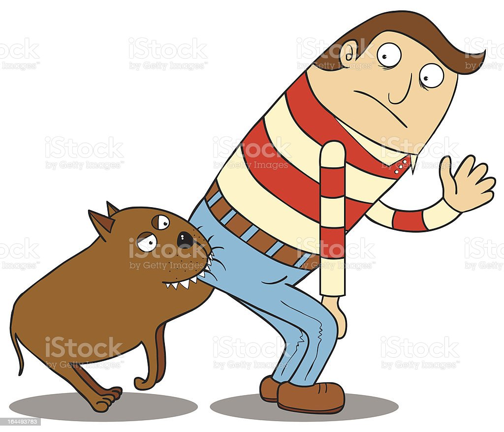Cartoon of man bent over meanwhile his buttock bitten by dog vector art illustration