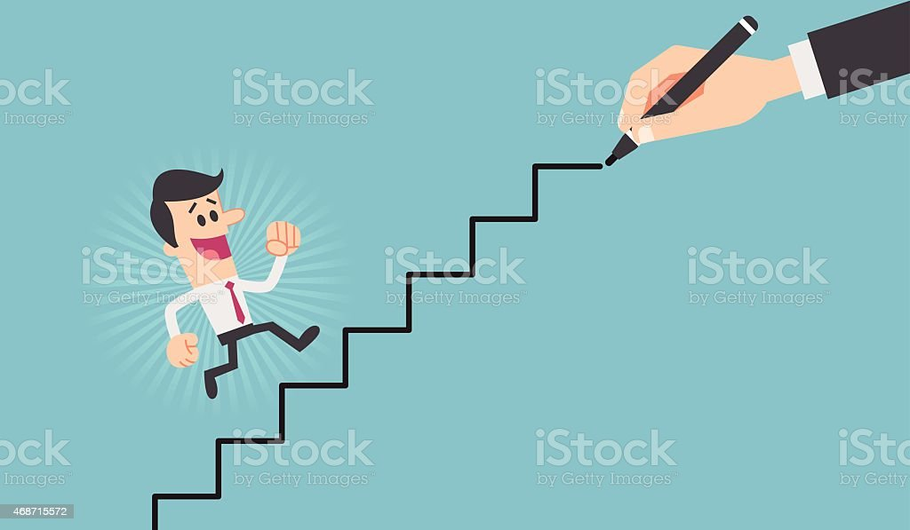 Cartoon of man going up stairs being drawn by hand vector art illustration