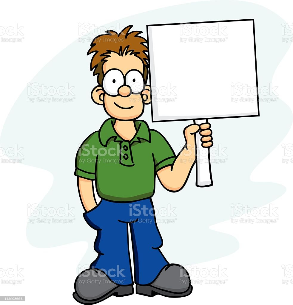 A cartoon of man holding up a large white blank sign royalty-free stock vector art
