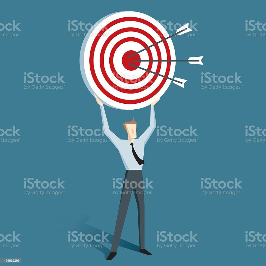 Cartoon of man holding up a target with arrows on it vector art illustration