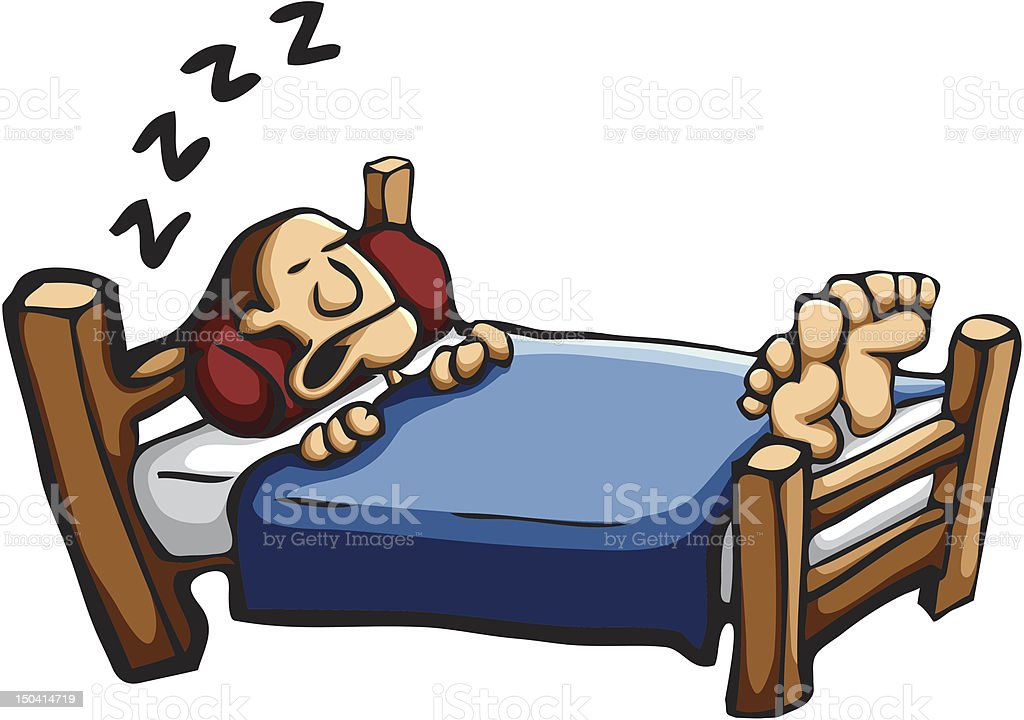 Cartoon of man in bed snoring  royalty-free stock vector art