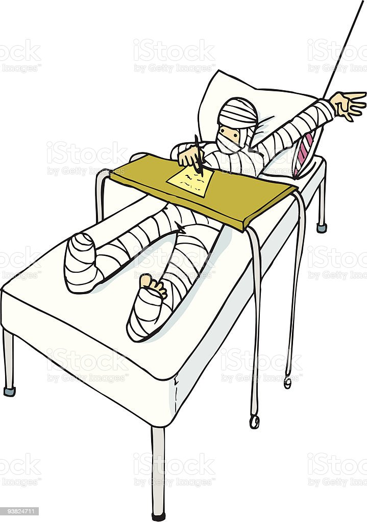 Cartoon of man in hospital with full body cast royalty-free stock vector art