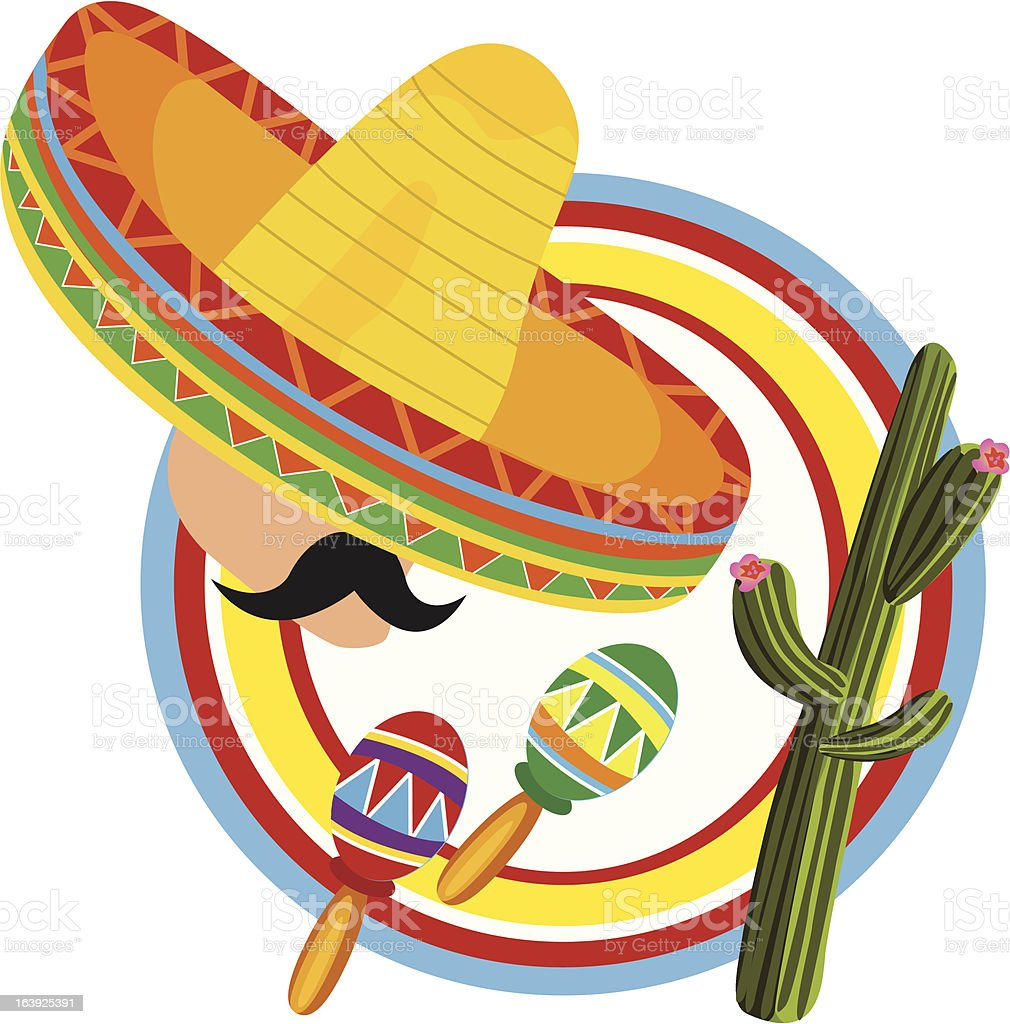 Cartoon of man in sombrero surrounded by Mexican symbols royalty-free stock vector art