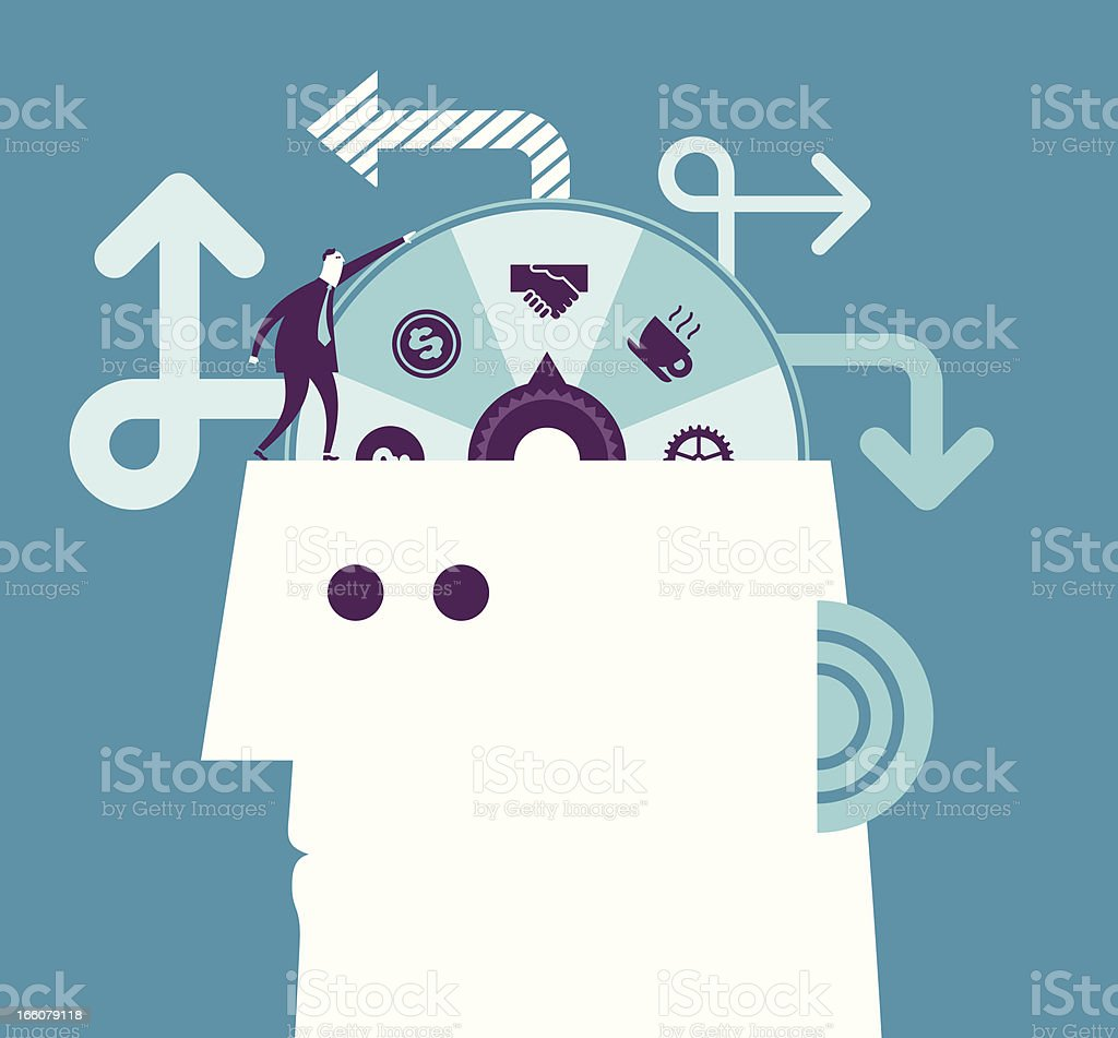 Cartoon of man on another's head with lucky wheel royalty-free stock vector art
