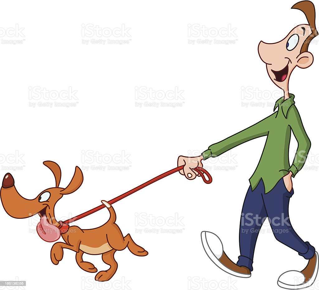 Cartoon Of Man Walking A Dog On A Leash On White Background stock