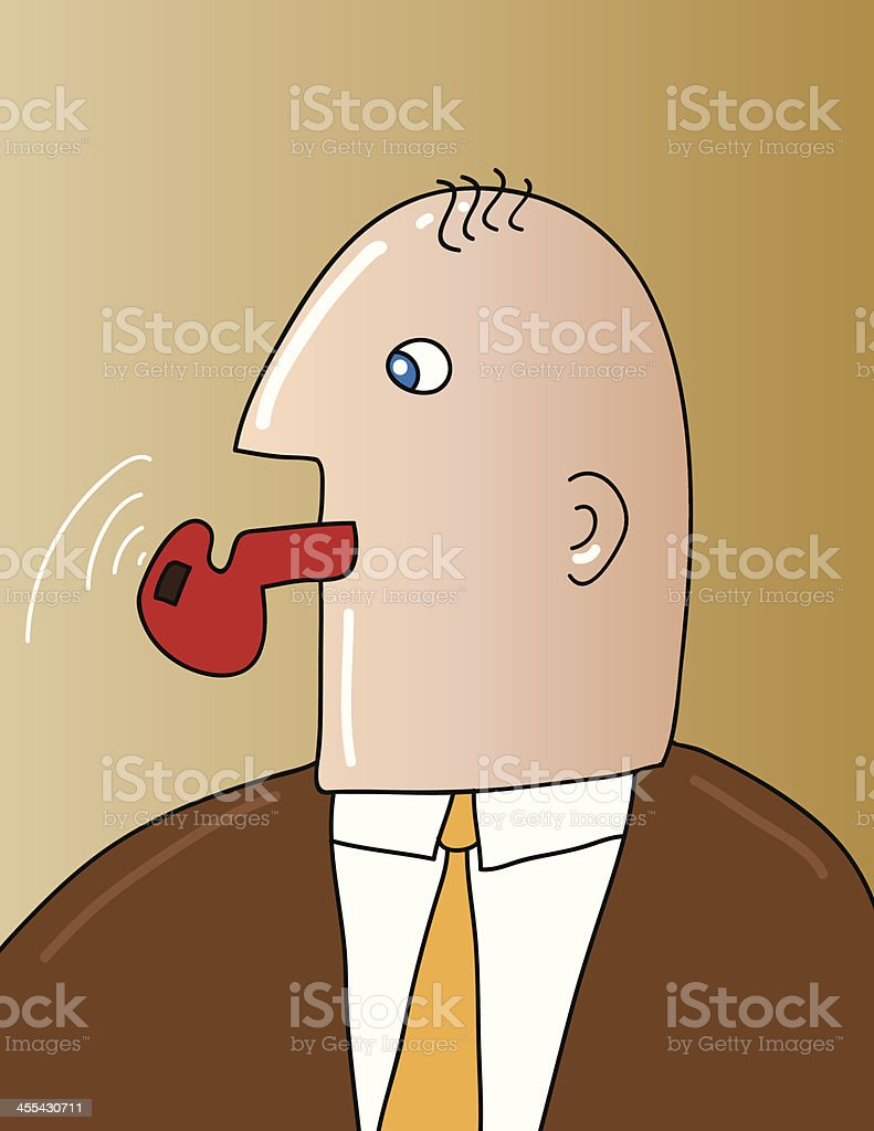 Cartoon of man wearing a short and tie blowing a red whistle vector art illustration