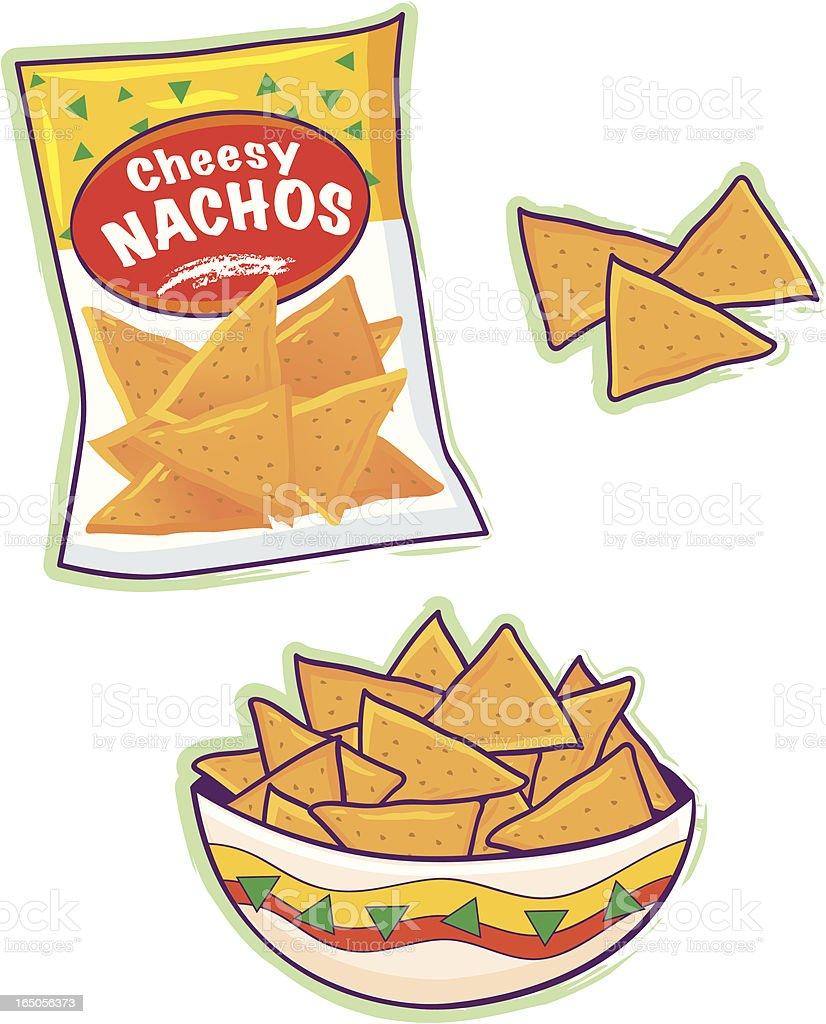 Cartoon of nacho cheese tortilla chips vector art illustration