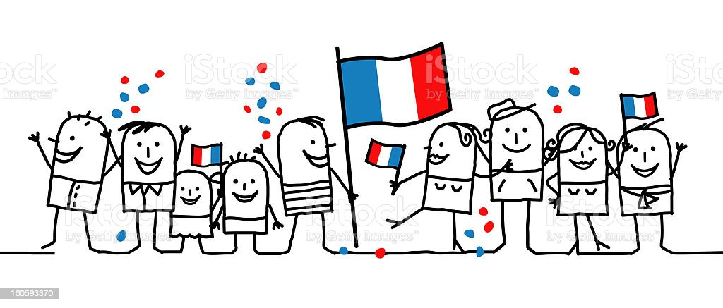 Cartoon of nine people celebrating a national French holiday vector art illustration