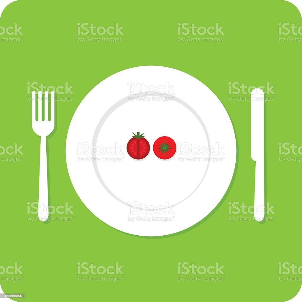 Cartoon of plate with two red berries next to fork and knife vector art illustration
