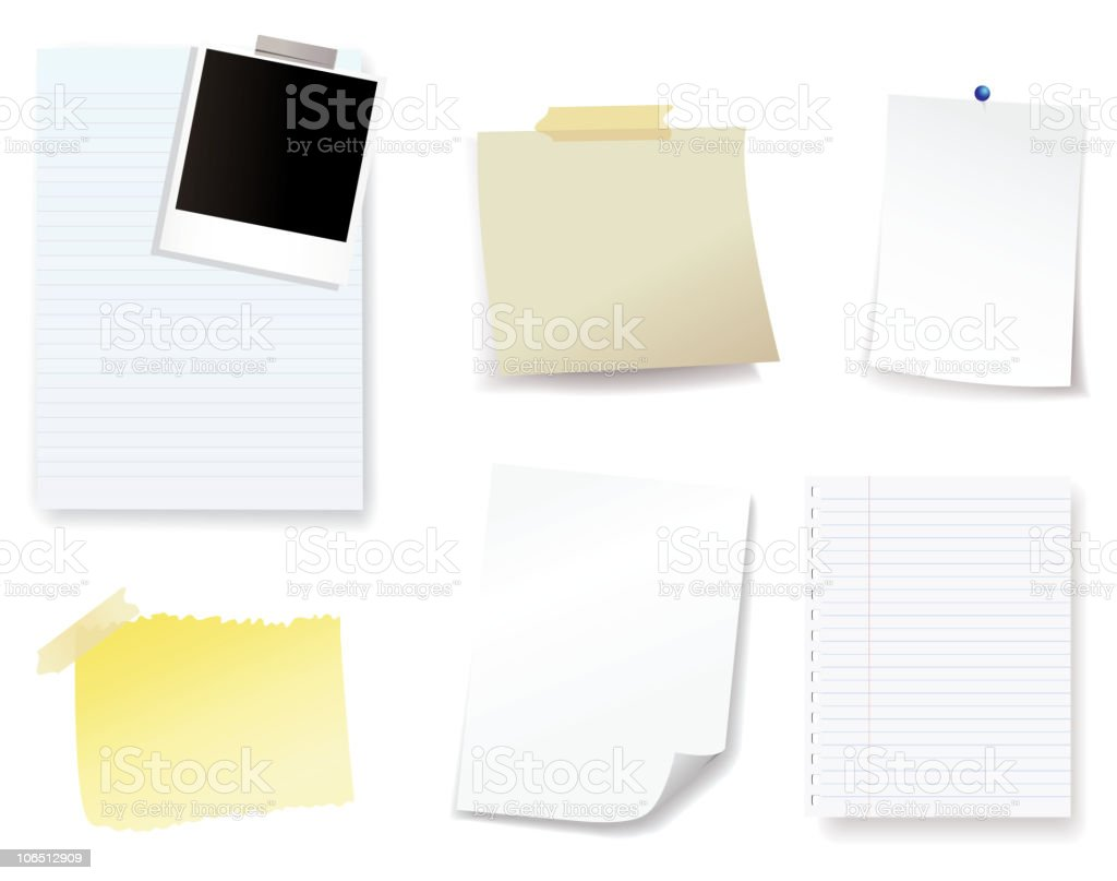 Cartoon of six different blank pieces of paper for notes royalty-free stock vector art
