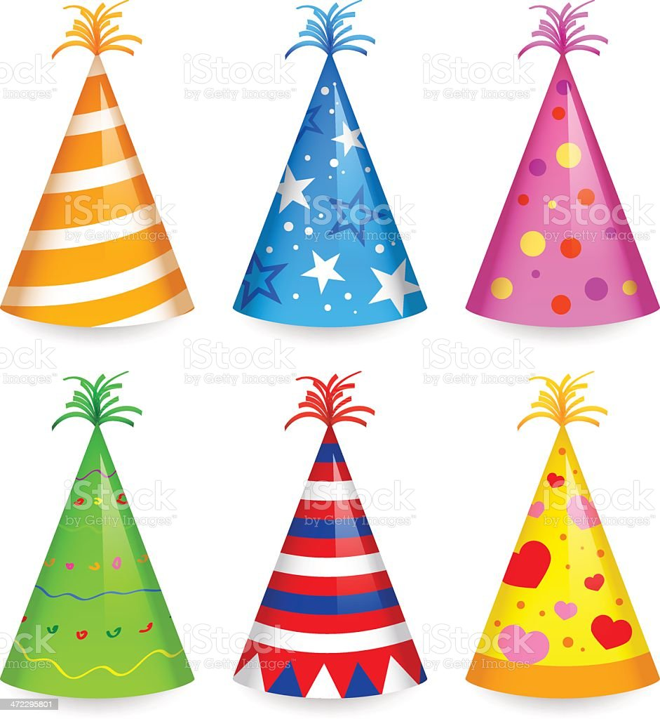 Cartoon of six differently colored party hats royalty-free stock vector art