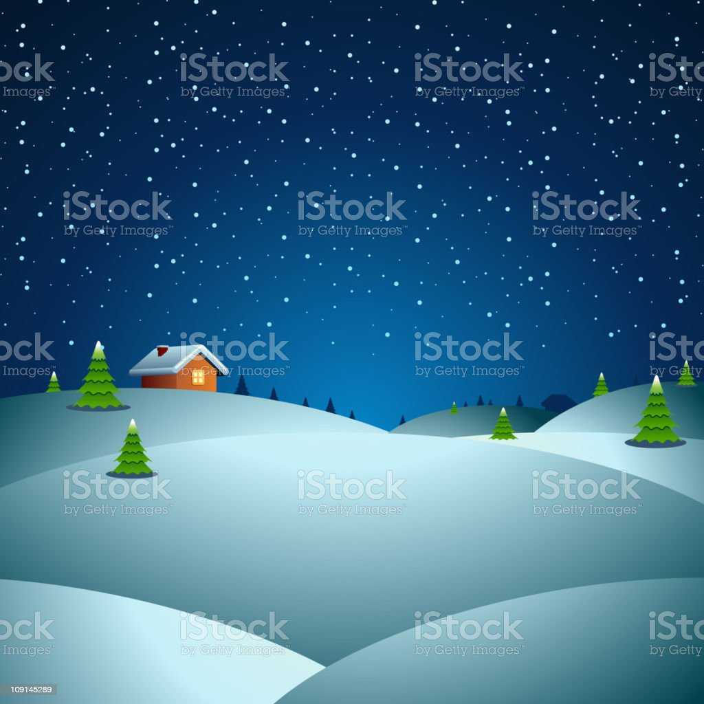 Cartoon of snowy winter night with house and fir tree royalty-free stock vector art