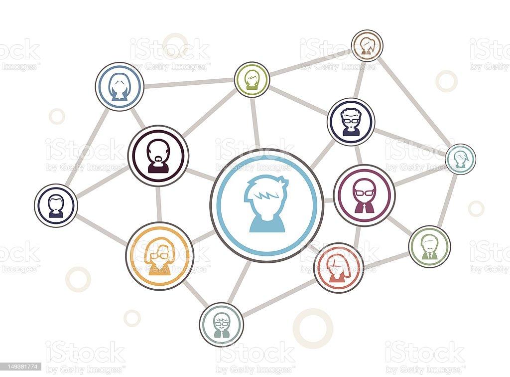 Cartoon of social networking diagram royalty-free stock vector art