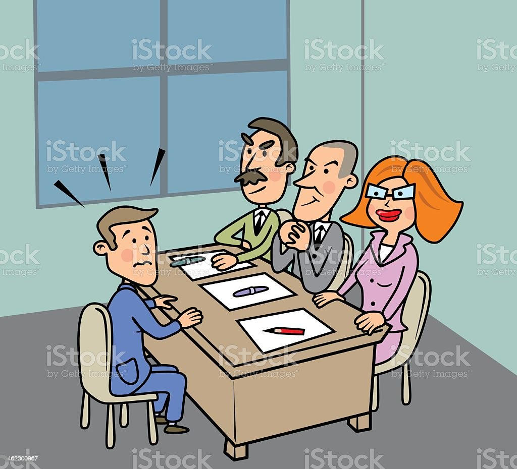 A cartoon of three business people interviewing one man vector art illustration