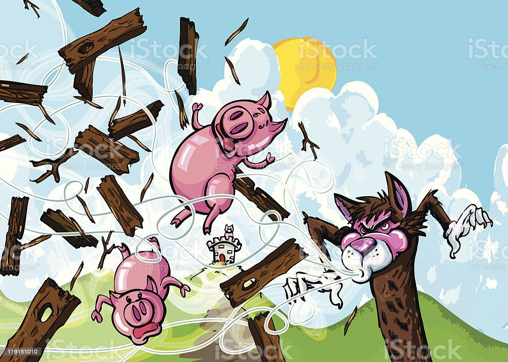 Cartoon Of Three Little Pigs And Big Bad Wolf stock vector art ...
