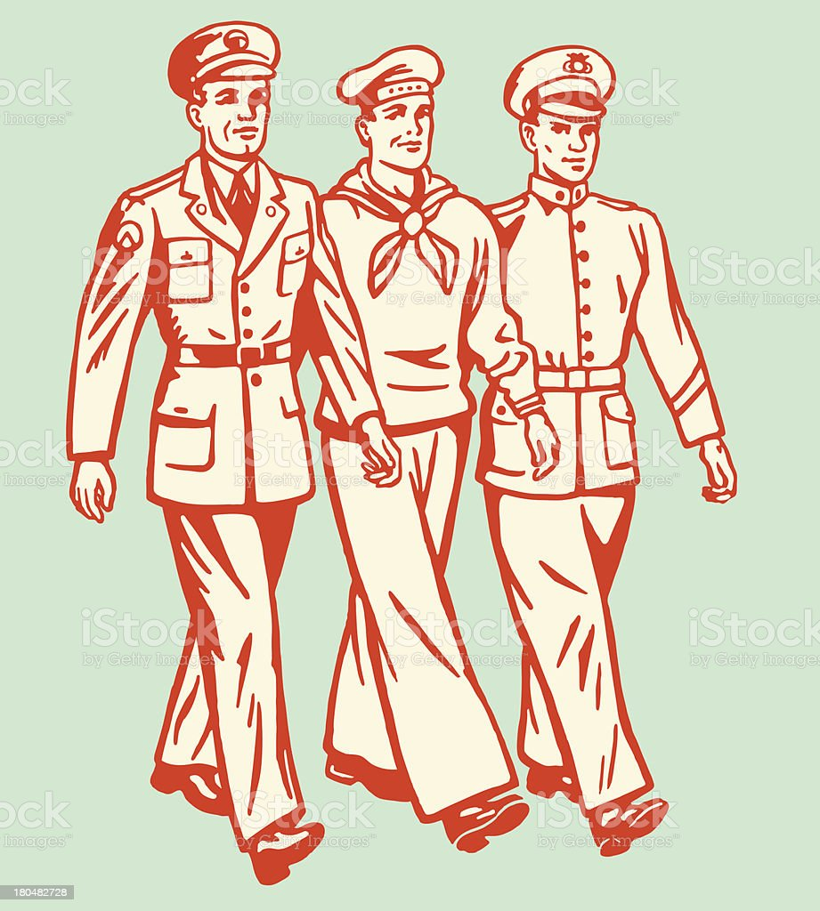 Cartoon of three military men walking on pale background vector art illustration