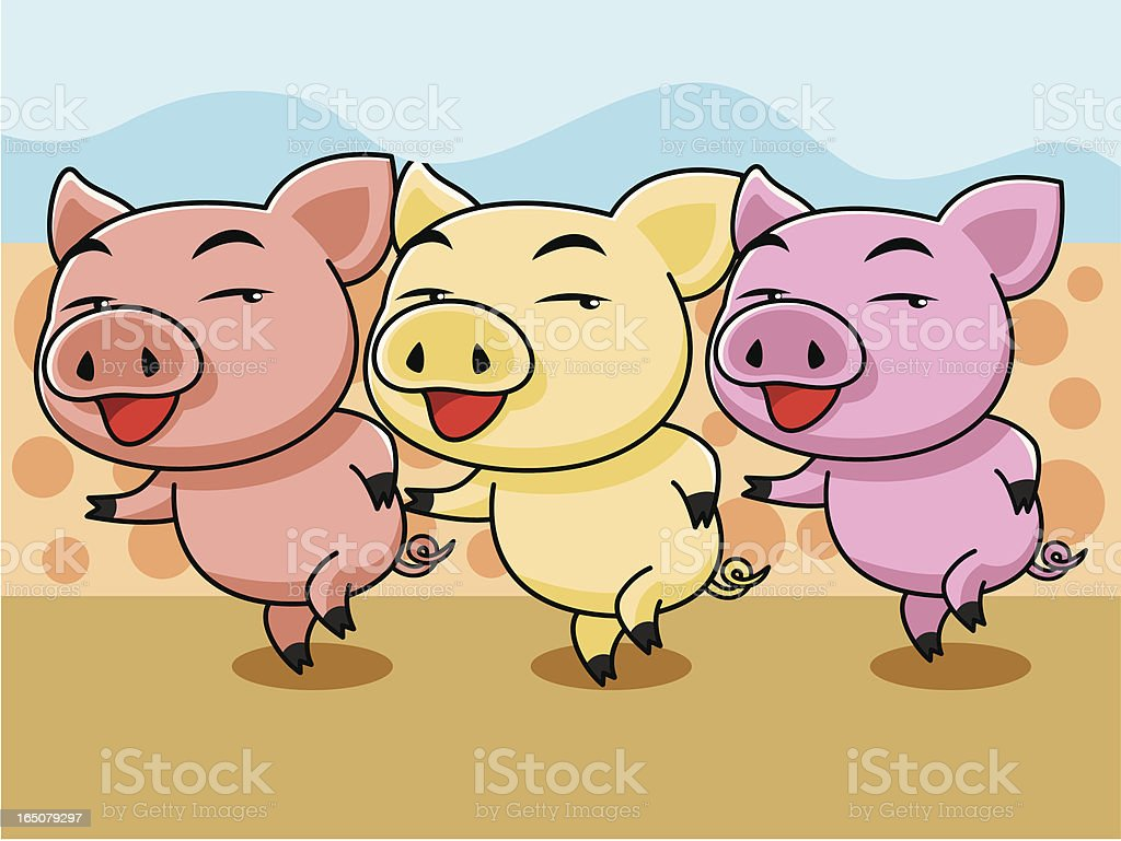 Cartoon of three pigs in colors royalty-free stock vector art