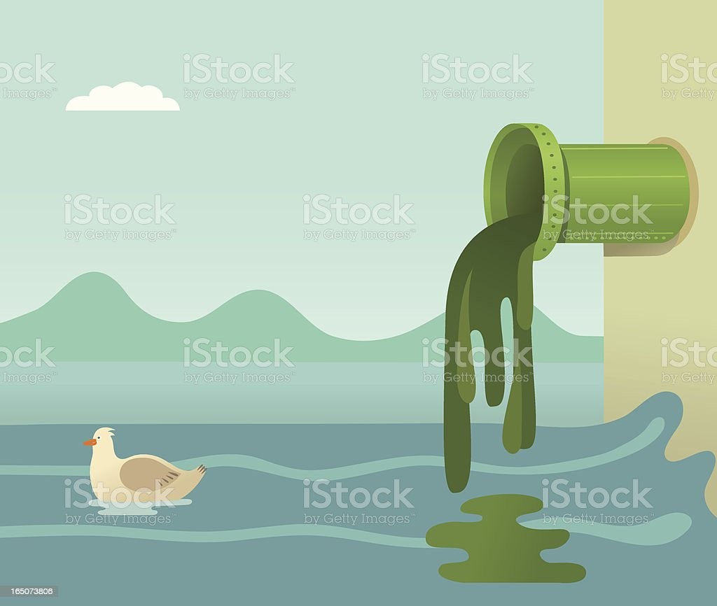 A cartoon of toxic waste flowing into the ocean vector art illustration
