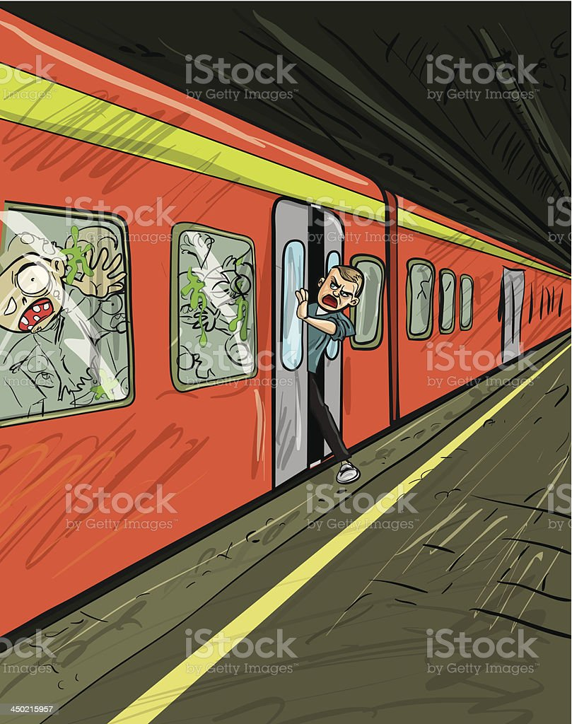 Cartoon of train filled with zombies royalty-free stock vector art