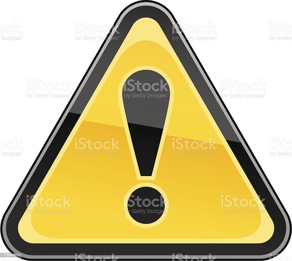 Cartoon of triangular warning sign vector art illustration
