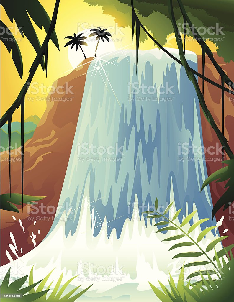 Cartoon of Tropical Waterfall with Palm Trees and Ferns vector art illustration
