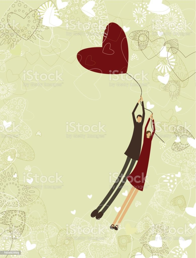 Cartoon of two lovers flying with a heart balloon vector art illustration