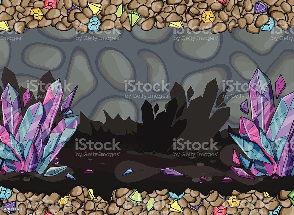 Cartoon of underground cave vector art illustration