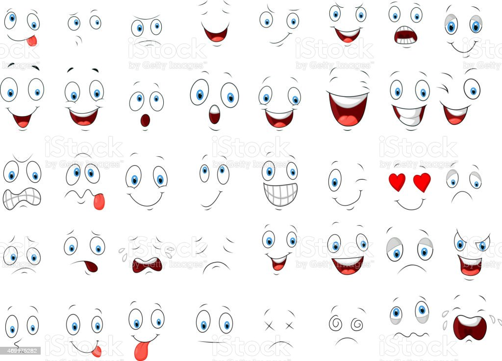 Cartoon of various face expressions vector art illustration