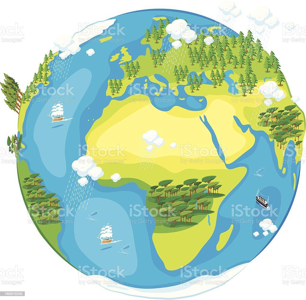 Cartoon of World vector art illustration