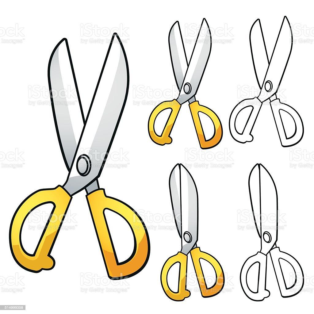 Cartoon of yellow scissors royalty-free stock vector art