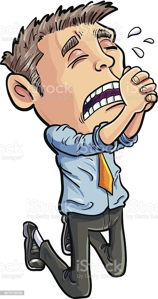 Cartoon office worker begging for his job. Isolated vector art illustration